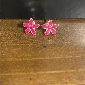 Kids Pink Flower Earrings